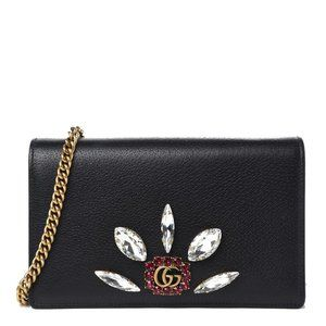 Gucci Black Leather Double G Crystals Crossbody
